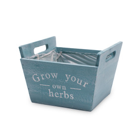 Wooden planter Herbs 19x19 H10.5cm turquoise/white washed