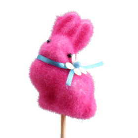 Bunny With Bow 2.75 in on 20 in stick pink