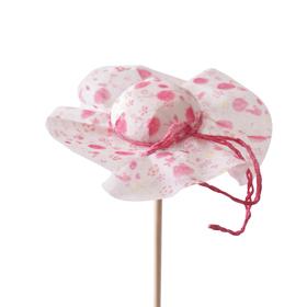 Hat Floral 8cm on 50cm stick pink
