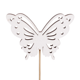 Butterfly Memories 7cm on 10cm stick white
