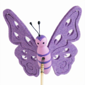 Butterfly Felt 9cm on 50cm stick purple