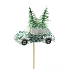 Christmas car Aspen 10cm on 50cm stick mint green