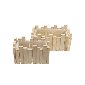 Wooden planter Maud rectanglel 24x16 H11cm natural