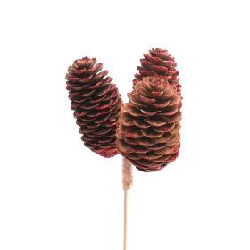 Spruce Cones x3 6-8cm on 50cm stick red
