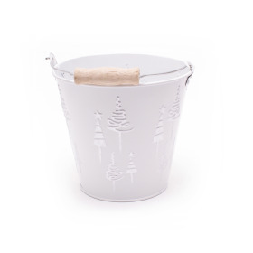 Zinc Bucket X-Mas Tree Ø13.2 H12cm white