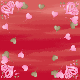 Floating Love 24x24in red