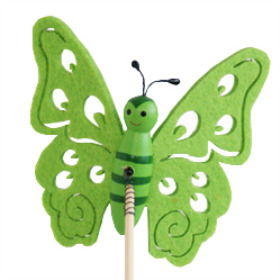 Butterfly Felt 9cm on 50cm stick green