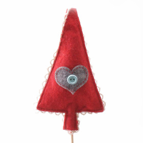 Christmas Tree felt 11x6cm on 50cm stick red