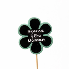 Bonne Fête Maman 6cm on 15cm stick green