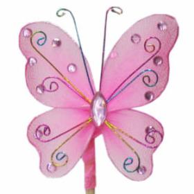 Butterfly Oriënt 7cm on 50cm stick pink