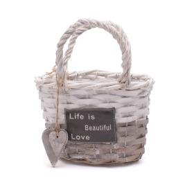 Handbag Beautiful Life 25x14H15cm grey/white