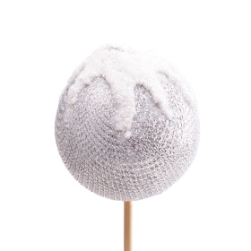 Christmas Ball Blinky 8cm on 50cm stick silver