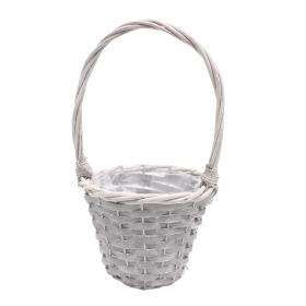 Basket with handle Ø15 H12.5cm gray
