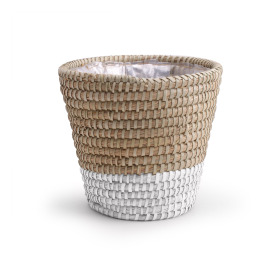 Pot basket Moroccan Ø20 H18.5cm white