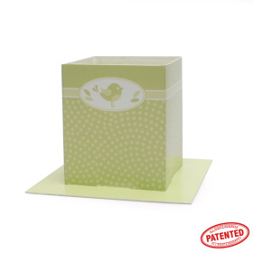 Card Pot Dotty Bird 8.5x8.5x10cm green