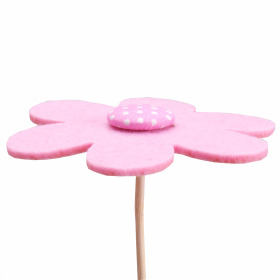 Flower Felt 8cm on 50cm stick pink