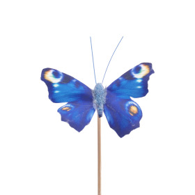 Butterfly Auralia 8cm on 50cm stick blue