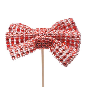 Bow Glitter & Glamour 8cm on 50cm stick red