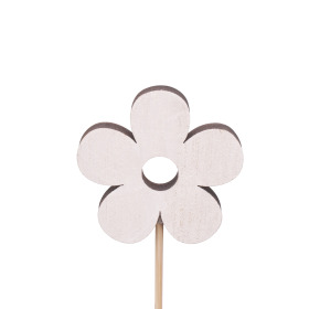 Flower Power 6cm on 10cm stick white