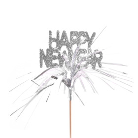 Happy New Year 7cm on 50cm stick silver
