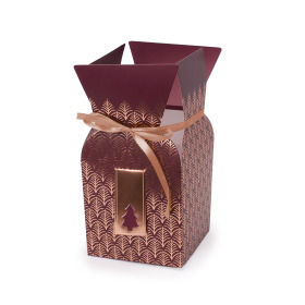 Bouquetbox Gold Forest 13/13x13/13x26cm burgundy