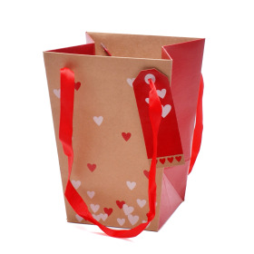 Carrybag Send Love 15/15x11/11x20cm natural/red
