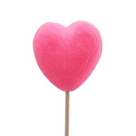 Velvet Heart 8cm on 50cm stick pink