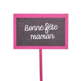Bonne Fête Maman 5.5x3.5cm on 15cm stick pink