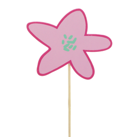 Flower Party 8x9cm on 50cm stick pink