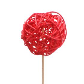 Rattan Bal 6cm op 50cm stok rood