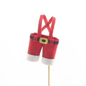 Santa's Pants 11x7cm on 10cm stick red