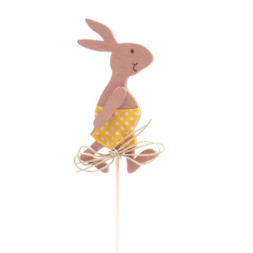 Boy Rabbit 3.5in on 20in stick yellow