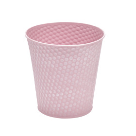 Zinc Pot Honeycomb Ø6 H5.7 in pink