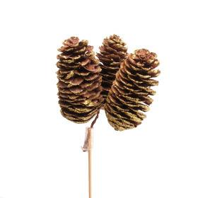 Spruce Cones x3 3-5cm on 50cm stick gold