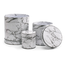 Hat box Marble set/3 Ø20/16/11 H20/16/11cm white