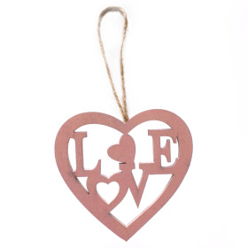 Wooden Heart Love 8cm pink