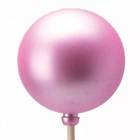Kerstbal Mat 6cm op 50cm stok roze
