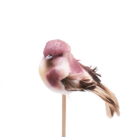 Bird Tommy 6.5cm on 50cm stick purple