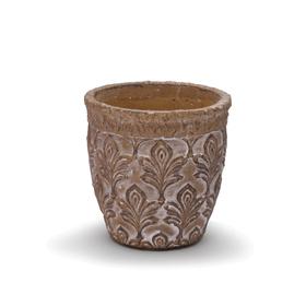 Pot Fleur de Lis Ø12.5 H12.5cm taupe