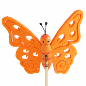 Butterfly Felt 7cm on 15cm stick orange