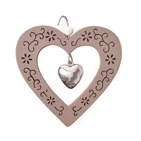 Heart Pendant 9cm with hook brown
