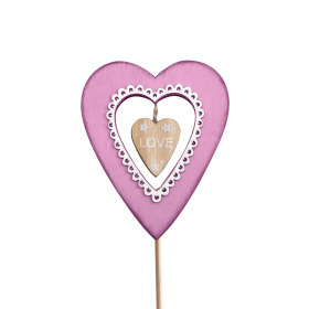 Heart Valentina 7.5x9cm on 50cm stick pink
