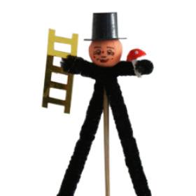 Chimney sweeper 8cm on 15cm stick black