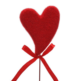 Heart Hugs & Kisses 5.5cm on 10cm stick red