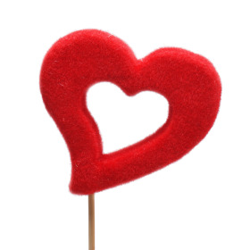 Open heart Desire 10cm on 50cm stick red