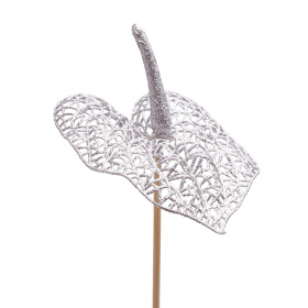Glitter Anthurium 10cm on 50cm stick silver