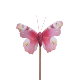 Butterfly Auralia 8cm on 50cm stick pink