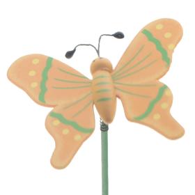 Houten Vlinder 7cm op 50cm stok oranje