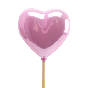 Heart Pearly 2.5in on 20in stick pink