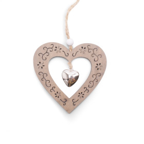 Heart Pendant 9cm natural